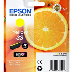 Original Epson 33 Yellow Ink Cartridge (C13T33444010) - Ecomelani