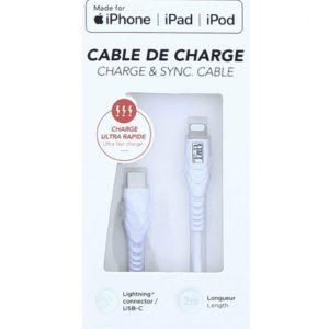 TNB 2M USB-C/Lighting Cable White - Ecomelani