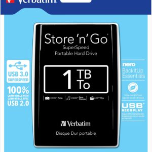 1TB Store 'n' Go USB 3.0 2.5 Inch External Hard Drive Black - Ecomelani