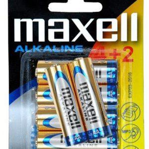 Batteries Alcaline Maxell AA 4pcs + 2 Free - Ecomelani