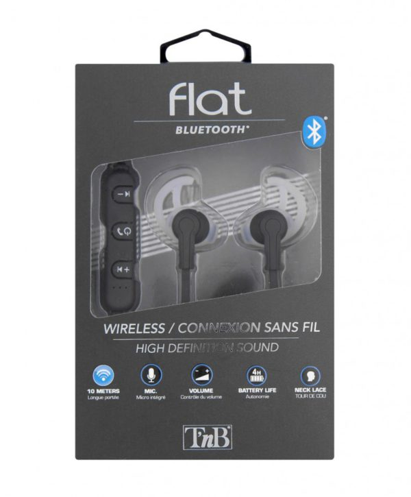TNB Flat Black Bluetooth Earphones - Ecomelani