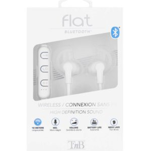 TNB Flat White Bluetooth Earphones - Ecomelani