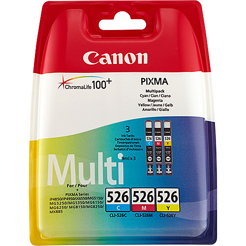 Original Tricolour Ink Cartridge Canon CLI-526MLT - Ecomelani