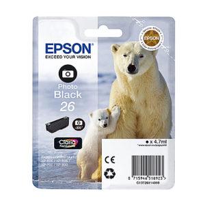 Original Photo Black Ink Cartridge Epson T2611 - Ecomelani