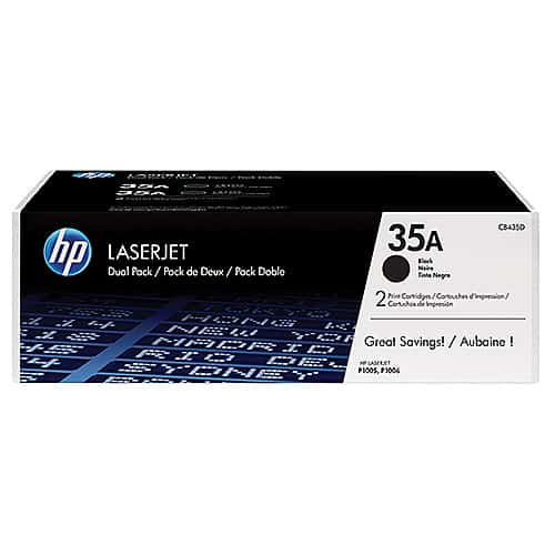 Original Black HP CB435AD Toner Cartridge 35A Twin Pack - Ecomelani
